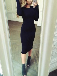Black Long Sleeve Round Neck Sweet Going out Party Midi Dress