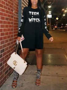 "Black White Monogram ""TEEN WITCH"" Print Halloween Costumes Long Sleeve Mini Dress"