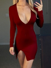 Red Side Slit Bodycon V-neck Long Sleeve Fashion Mini Dress