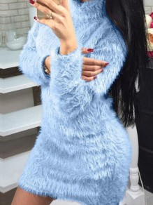Blue Fur High Neck Long Sleeve Fashion Mini Dress