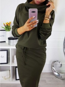 Green Drawstring Pockets Long Sleeve Casual Midi Dress