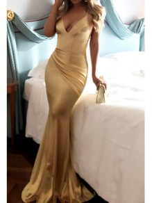 Golden Pleated Deep V-neck Cross Back Mermaid Elegant Prom Evening Party Maxi Dress
