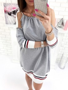 Grey Bow Long Sleeve Sweet Going out Party Mini Dress