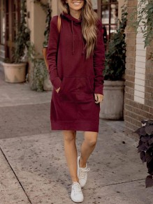 Date Red Pockets Hooded Long Sleeve Going out Midi Dresses
