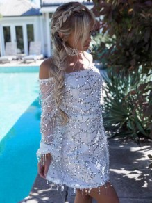 White Patchwork Tassel Sequin Off Shoulder Backless Sparkly Birthday Party Mini Dress