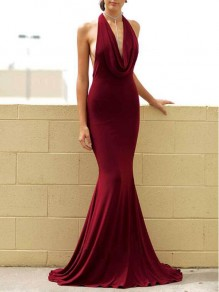 Burgundy Draped Cowl Neck Halter Neck Backless Mermaid Wedding Prom Party Maxi Dress