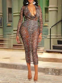 Brown Snake Skin Pattern Cowl Neck Sheer Bodycon Clubwear Maxi Dress