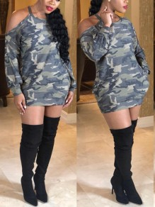 Camouflage Halter Neck Cut Out Pockets Long Sleeve Casual Mini Dress