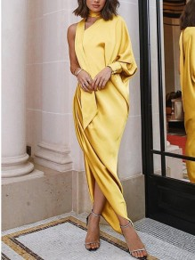 Yellow Pleated Irregular Asymmetric Shoulder Side Slits Elegant Prom Evening Party Maxi Dress
