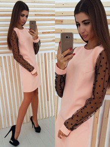 Pink Polka Dot Print Grenadine Long Sleeve Fashion Mini Dress