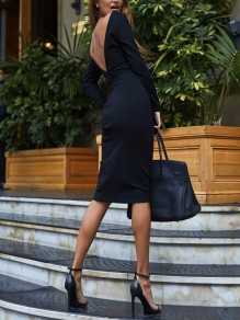 Black Backless Bodycon Long Sleeve Fashion Going out Midi Dress