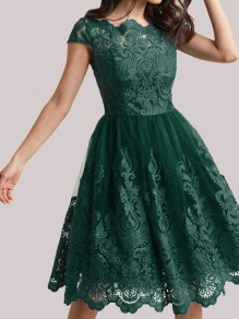 Green Patchwork Lace Short Sleeve Cocktail Party Midi Dress