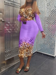 Purple Leopard Print Off Shoulder Backless Two Piece Bodycon Long Sleeve Party Maxi Dress