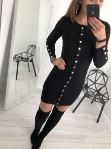 Black Studded Round Neck Long Sleeve Casual Midi Dress