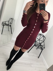Red Studded Round Neck Long Sleeve Casual Midi Dress