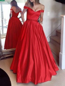 Red Draped Lace Off Shoulder Backless Elegant Maxi Dress