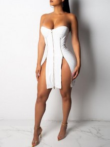 White Zipper Bandeau Off Shoulder Double Slit Latex Bodycon Vinly Mini Dress