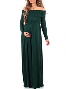 Dark Green Irregular Off Shoulder Long Sleeve Ankle Maternity Dress