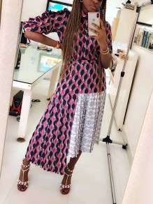 Pink Plaid Pleated Irregular Ruffle Long Sleeve Party Beachwear Maxi Dress