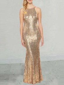 Golden Sequin Draped Condole Belt Backless Round Neck Sleeveless Elegant Maxi Dress