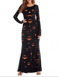 Black Pumpkin Lantern Print Round Neck Long Sleeve Halloween Maxi Dress