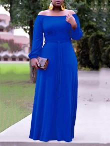 Blue Pleated Off Shoulder Belt Long Sleeve Party Maxi Dress