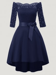 Navy Blue Patchwork Lace Sashes Draped Boat Neck Three Quarter Length Sleeve Elegant Midi Dress