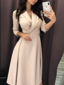 Apricot Belt Turndown Collar V-neck Draped Long Sleeve Elegant Party Maxi Dress