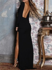 Black Side Slit Backless Long Sleeve Formal Porm Maxi Dress