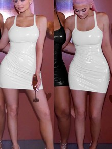 White PU Leather Round Neck Sleeveless Latex Vinly Bodycon Clubwear Mini Dress