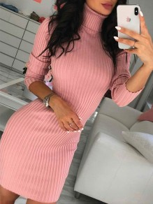 Pink Patchwork High Neck Fashion Skinny Knit Midi Dress