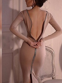Khaki Zipper Backless Slit Back Bodycon clubwear Round Neck Long Sleeve Maxi Dress