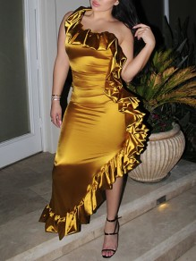 Golden Cascading Ruffle Irregular Asymmetric Shoulder Bodycon Clubwear Party Maxi Dress