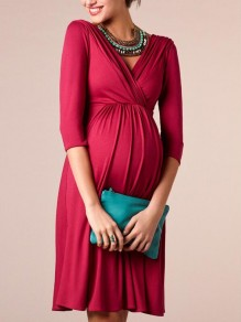 Burgundy Pleated Deep V-neck 3/4 Sleeve Maternity Pregnant Banquet Prom Party Midi Dress