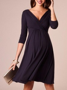 Black Pleated Deep V-neck 3/4 Sleeve Maternity Pregnant Banquet Prom Party Midi Dress