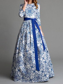White-Blue Floral Pleated Sashes Pockets 3/4 Sleeve Backless Prom Evening Party Maxi Dress