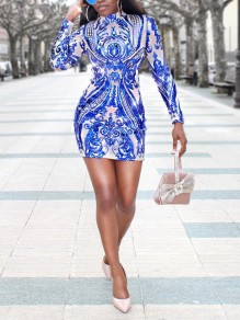 Blue Patchwork Sequin Bodycon Long Sleeve Party Clubwear Mini Dress