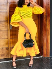 Yellow Patchwork Grenadine Cascading Ruffle Bodycon Mermaid Lantern Sleeve Round Neck Party Elegant Maxi Dress