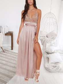 Apricot Patchwork Sequin Cross Back Deep V-neck Sparkly Prom Evening Party Maxi Dress
