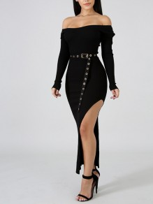 Black Draped Thread Belt Bodycon Round Neck Long Sleeve Casual Sweater Maxi Dress