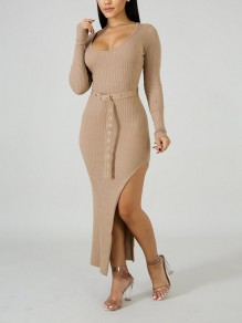 Coffee Draped Thread Belt Bodycon Round Neck Long Sleeve Casual Sweater Maxi Dress