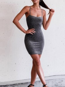 Black Spaghetti Strap Bright Wire Bodycon Clubwear Mini Dress
