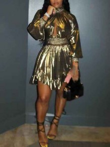 Golden Pleated Cut Out Irregular Long Sleeve Cute Homecoming Party Mini Dress