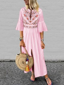 Pink Embroidery Pleated Front Slit Bell Sleeve Mexico Bohemian Beachwear Maxi Dress