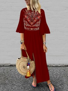 Burgundy Maroon Embroidery Pleated Front Slit Bell Sleeve Mexico Bohemian Beachwear Maxi Dress
