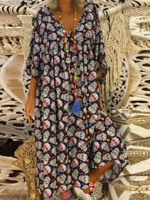 Black Floral Print 3/4 Sleeve Casual Sweet Going out Maxi Dress