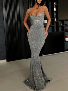 Silver Sequin Glitter Spaghetti Strap Backless Sparkly Mermaid Banquet Evening Party Maxi Dress