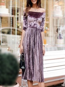 Pink Pleated Off Shoulder Half Sleeve Elegant Velvet Midi Dress