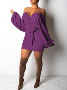 Purple Sashes Bright Wire Off Shoulder Sparkly Lantern Sleeve Knit Party Mini Dress