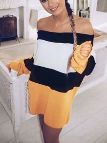 Yellow Striped Off Shoulder Long Sleeve Going out Party Mini Dress